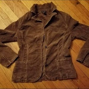 Guess Brown Corduroy Jacket Large Brass Studs